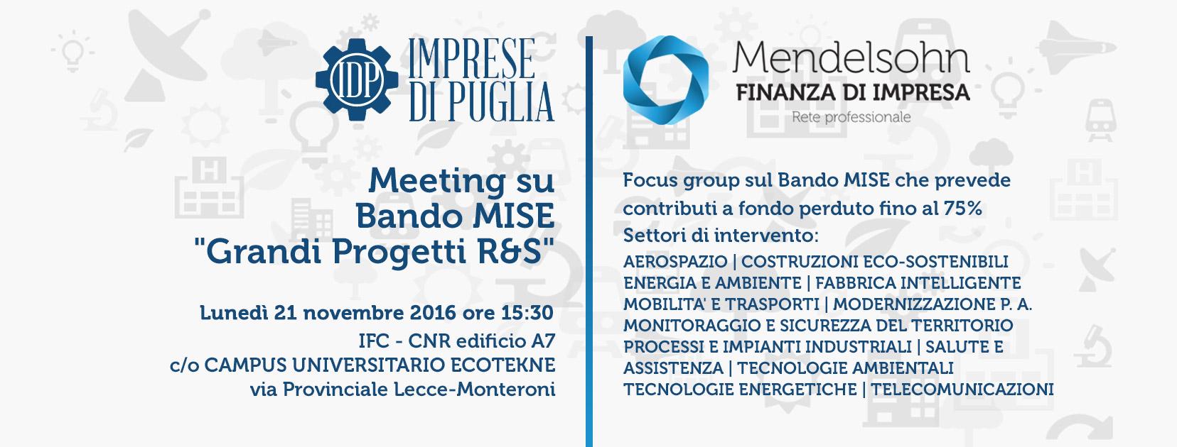 Bando Grandi Progetti R&S, meeting organizzato da Imprese di Puglia e Mendelsohn